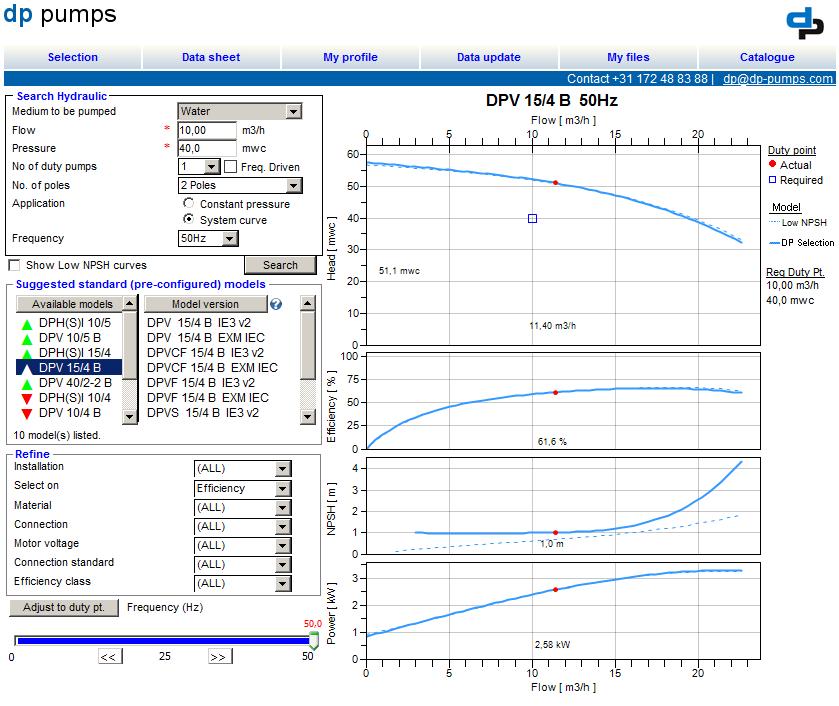 DP Select: pump selection program